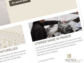 Le nouveau site noctea.com propose en plus de literies fabriquées en France.